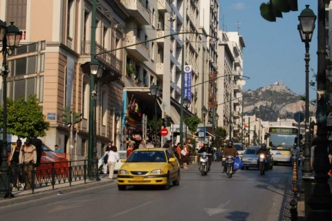 Agiou Konstantinou Street and the Lycabettus hill