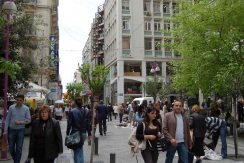 People at Ermou Street