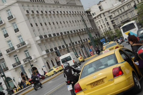 Taxi scene at Syntagma Square